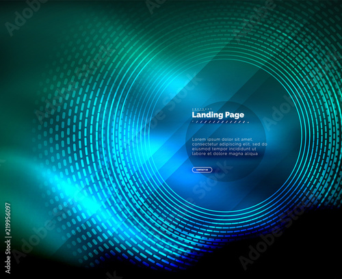 Neon glowing techno lines, hi-tech futuristic abstract background template with circles, landing page template