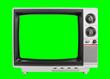 Leinwandbild Motiv Old Television Isolated with Chroma Green Screen and Background