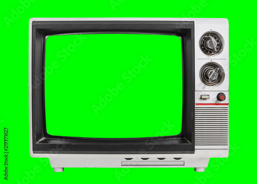 Old Television Isolated with Chroma Green Screen and Background - 219971627