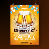 Oktoberfest party poster illustration with fresh lager beer and blue and white party flag on shiny yellow background. Vector celebration flyer template for traditional German beer festival. - 219972682
