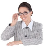Friendly Young Businesswoman Holding Glasses - Isolated - 219990028