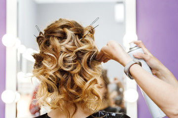 Female hairdresser makes hairstyle for young woman in beauty salon at the stylist workplace near the mirror © EdNurg