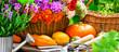 Leinwanddruck Bild - Autumn  Garden  -  Flowers and pumpkins