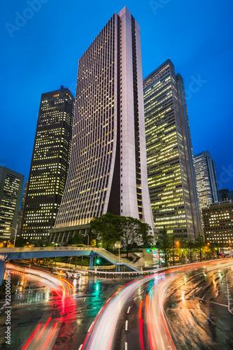 Night skyline in the Shinjuku district in Tokyo, Japan