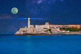 View of Morro Castle from the Malecon on a full moon night