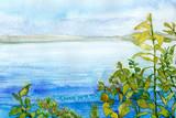 watercolor landscape background texture image