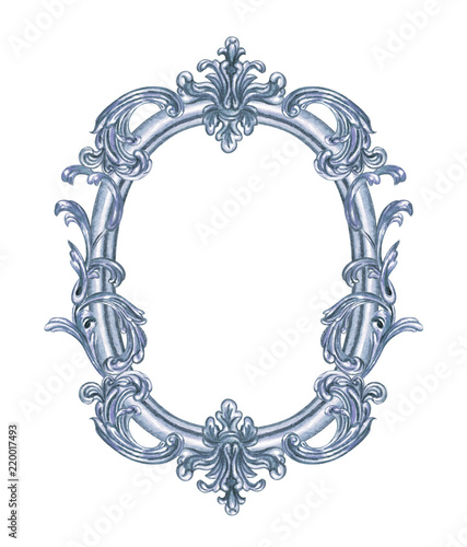 Silver oval frame of baroque, watercolor picture on white background ...