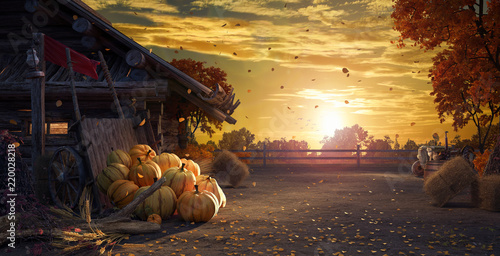 Fall in backyard with leaves falling from trees and pumpkins, autumn background 3D Rendering © hd3dsh