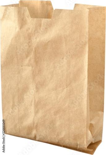 Otwórz brązowy papier worek - na białym tle