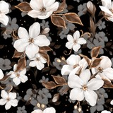 Elegance seamless pattern with white apple flowers and golden elements - 220039843