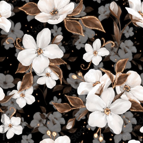 Fototapeta Elegance seamless pattern with white apple flowers and golden elements