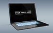 Isolated modern black laptop with shadow side view 3d rendering