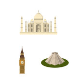 Sights of different countries cartoon icons in set collection for design. Famous building vector symbol stock web illustration. - 220051674