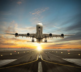 Huge two storeys commercial jetliner taking of runway. - 220063823