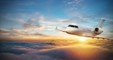 Luxury private jetliner flying above clouds - 220063858
