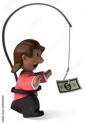 Fototapeta Cartoon woman - 3D Illustration