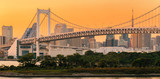 Panorama view of Tokyo Skyline at rainbow bridge Sunset twilight in Japan