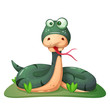 Cute, funny, crazy snake illustration Vector eps 10 - 220073442