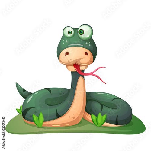 Cute, funny, crazy snake illustration Vector eps 10