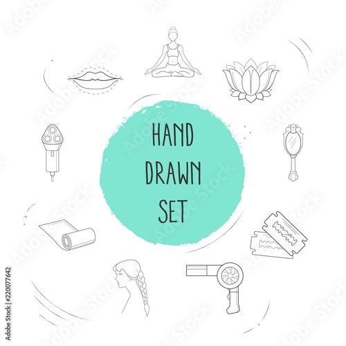 Set Of Fashion Icons Line Style Symbols With Hand Mirror Razor