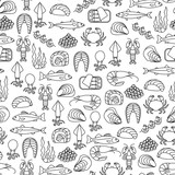 seamless pattern with seafood icons - 220078495