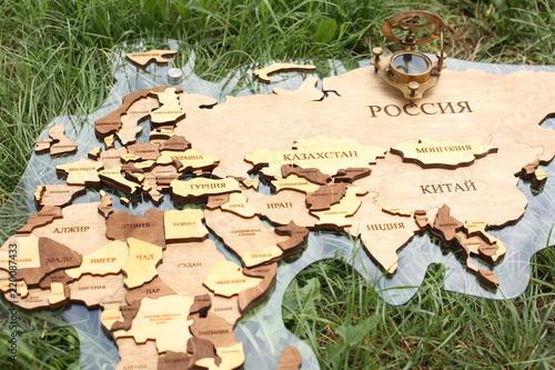 Fototapeta map on the green grass