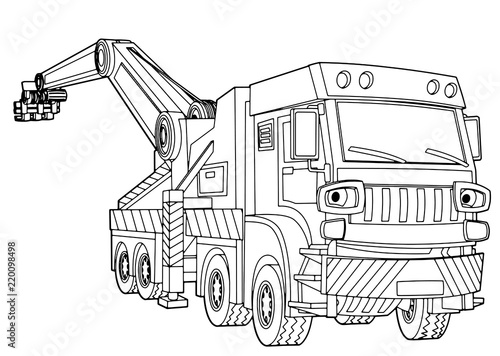 cartoon scene with vector tow truck on white background - with coloring page - illustration for children