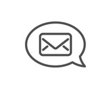Mail line icon. Messenger communication sign. E-mail symbol. Quality design element. Classic style mail. Editable stroke. Vector - 220104209