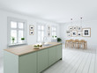 Leinwandbild Motiv modern nordic kitchen in loft apartment. 3D rendering