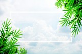 green bamboo leaves frame on blue sky background. - space for your text design.