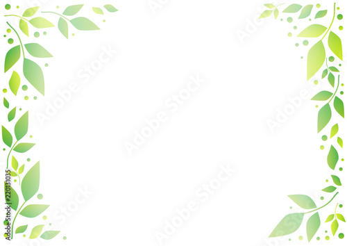 White Background With Decorative Frame Of Green Leaves And Dots For