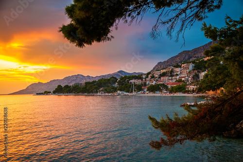 sunset above Adriatic sea and coastline in Brela