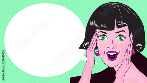 WOW bubble pop art. Surprised woman with opend mouth. Vintage comic poster with a girl. Pop Art illustration of a woman with the speech bubble. Copyspace © tamaravector