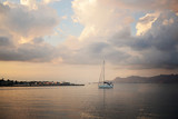 Sailboat on a sea in sunset. Greece - 220143627