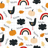 Funny autumn seamless pattern with pumpkin and cute black bird. Vector hand drawn illustration. - 220146611
