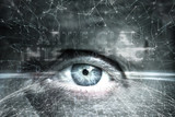 Artistic human eye on futuristic artificial intelligence cyberspace network background. - 220148269
