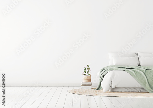 Leinwandbild Motiv Home bedroom interior mockup with bed, green plaid, pillows, rug and plants on empty white wall background. Free space on left. 3D rendering.