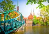 old town of Wroclaw - bridge to island Tumski, Poland, retro toned