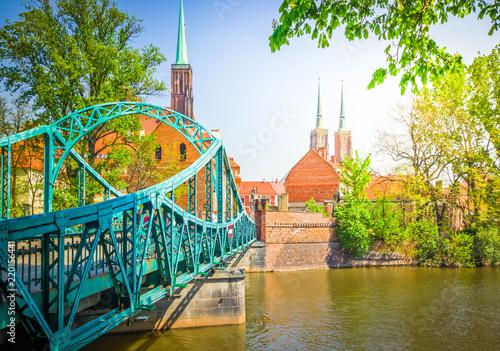 stare miasto Wrocław - most na wyspę Tumski, Polska, retro stonowanych