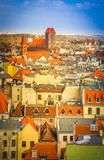tiled roofs of old town, Torun, Poland, retro toned