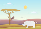 African vector landscape with rhino and tree standing with bird in savannah with mountains. Trendy paper cuted vector illustration of nature of africa. - 220157892