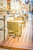 view of romantic street cafe at market square, Poznan Poland, retro toned - 220160269