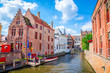 Leinwanddruck Bild - Beautiful canal and traditional houses in the old town of Bruges (Brugge), Belgium