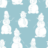 Snowman graphic blue color seamless pattern background illustration vector - 220183686