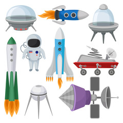 Flat vector set of icons related to space theme. Alien saucers, rockets, astronaut in suit, Mars exploration rover and satellites