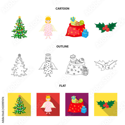 Christmas Tree Angel Gifts And Holly Cartoon Outline Flat Icons In