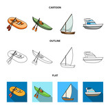 A rubber fishing boat, a kayak with oars, a fishing schooner, a motor yacht.Ships and water transport set collection icons in cartoon,outline,flat style vector symbol stock illustration web. - 220187859