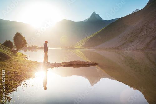 Leinwandbild Motiv Hike in Fann mountains