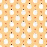 Cute vector seamless pattern background with pumpkins and maple leaves for autumn, thanksgiving and halloween design. - 220190014