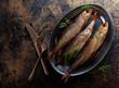 Leinwanddruck Bild - Smoked herring with dill.